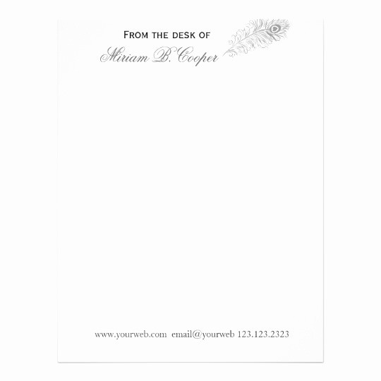 Letterhead From the Desk Of Beautiful Modern Hand Drawn Professional Pen From the Desk