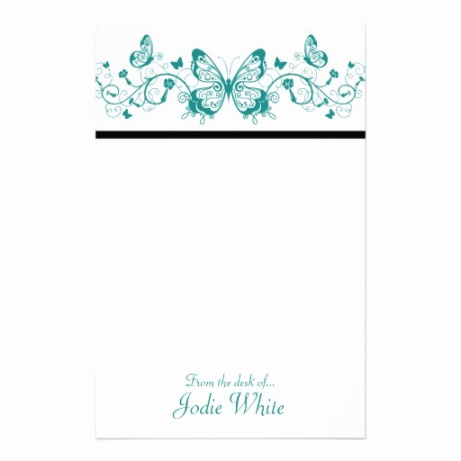 Letterhead From the Desk Of Best Of Aqua butterflies From the Desk Of Stationery