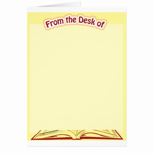 Letterhead From the Desk Of Inspirational From the Desk Stationery Greeting Card