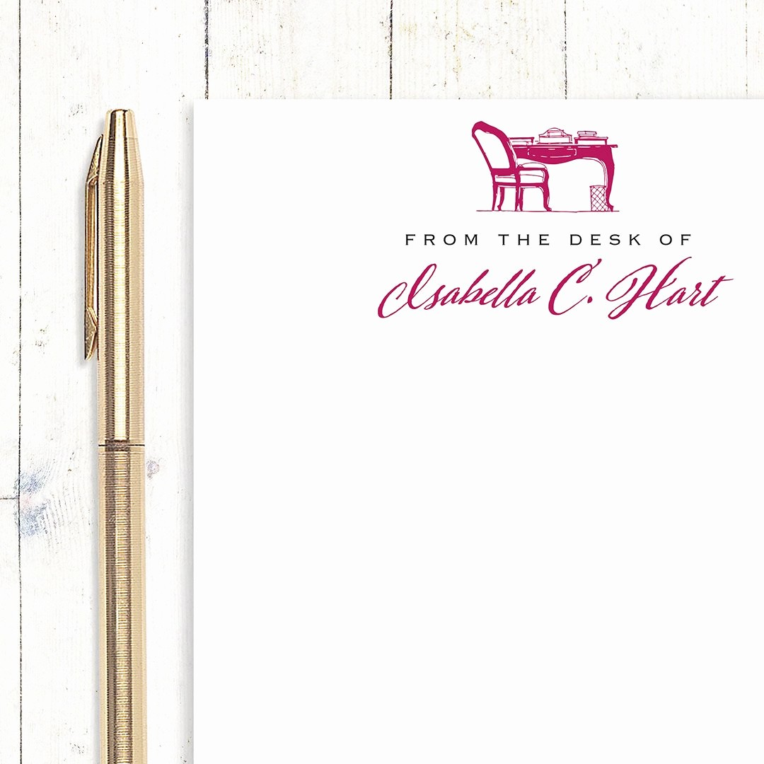Letterhead From the Desk Of Inspirational Personalized Notepad From the Desk Of Choose Color and Font