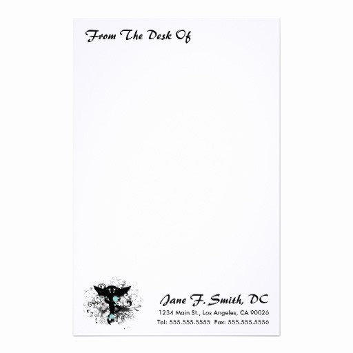 "Letterhead From the Desk Of Inspirational ""from the Desk "" Chiropractic Stationery"