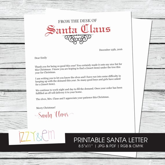 Letterhead From the Desk Of Unique Items Similar to Letter From Santa Editable Santa Letter