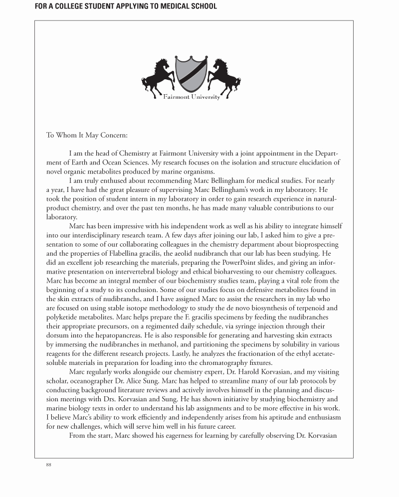 Letters Of Recommendation format Samples Awesome Medical School Letters Of Re Mendation Your Faq