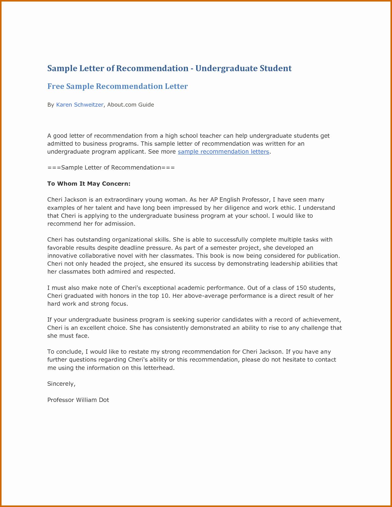 Letters Of Recommendation format Samples Fresh 13 Re Mendation Letter for Student Sample