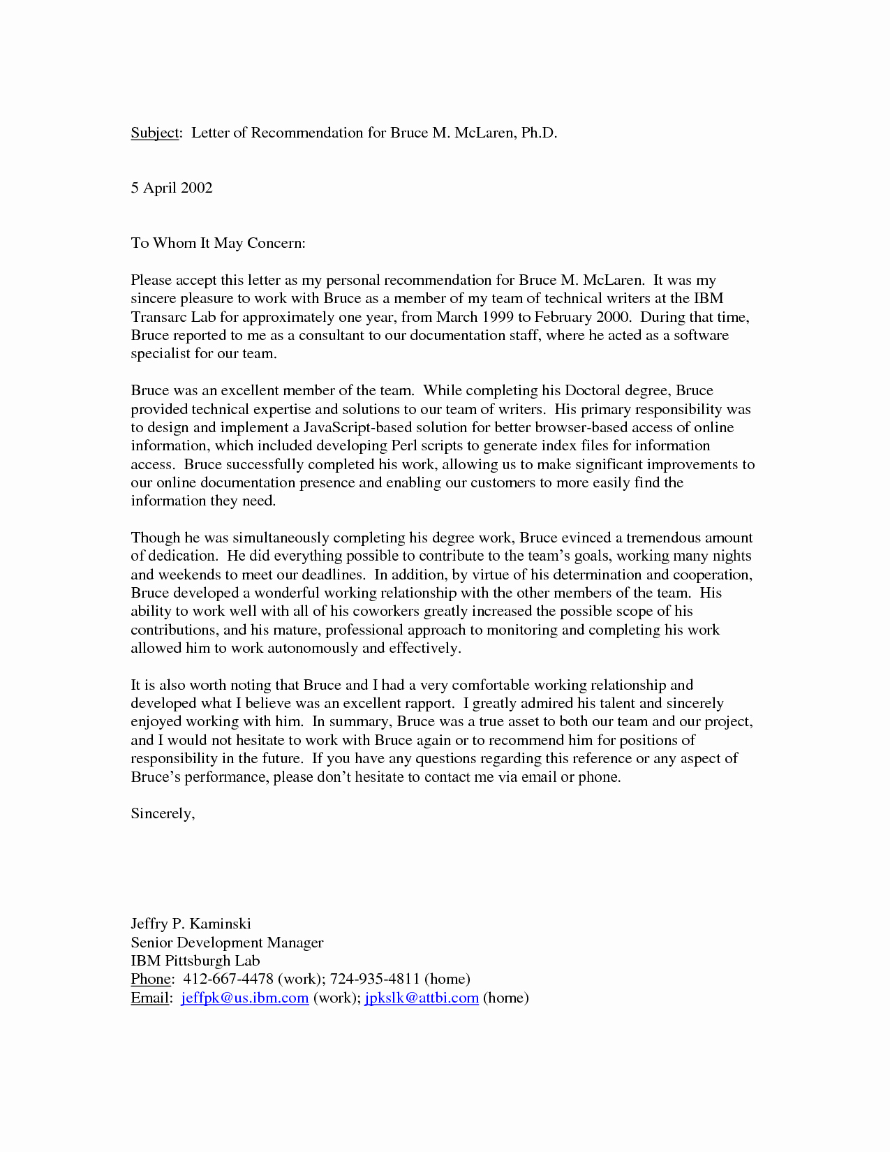 Letters Of Recommendation format Samples Inspirational Personal Letter Re Mendation