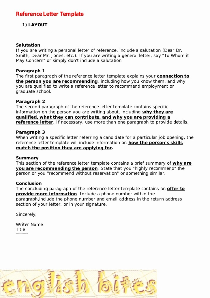 Letters Of Recommendation format Samples Lovely Reference Letter Template