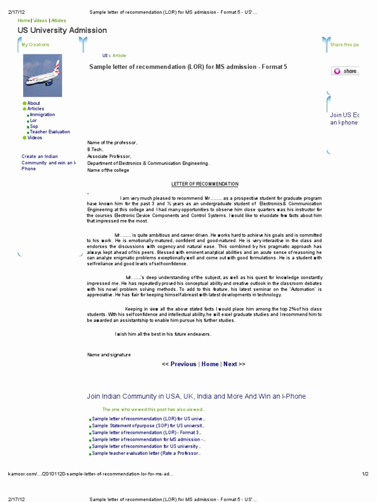 Letters Of Recommendation format Samples New Sample Letter Of Re Mendation Lor for Ms Admission