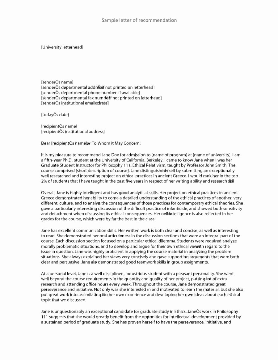 Letters Of Recommendation format Samples Unique 43 Free Letter Of Re Mendation Templates & Samples