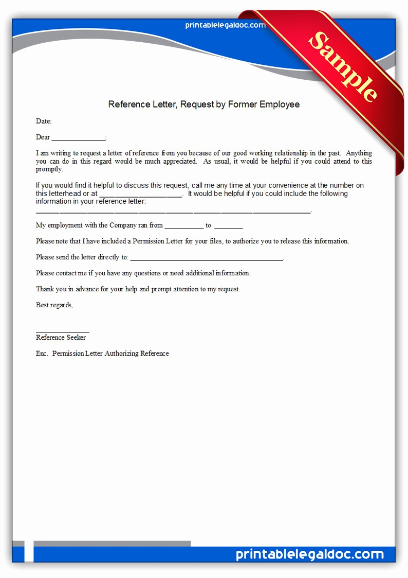 Letters Of Reference for Employees Beautiful Free Printable Reference Letter Requested by Employee