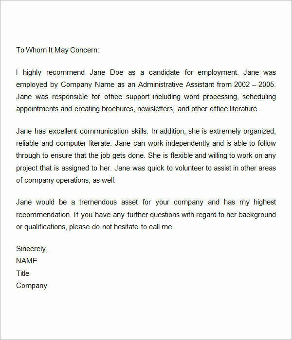 Letters Of Reference for Employees Elegant 15 Sample Re Mendation Letters for Employment In Word