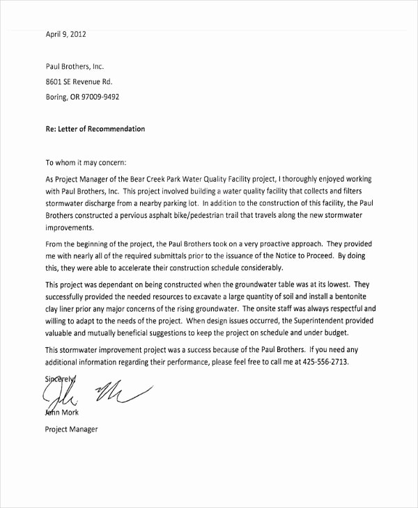 Letters Of Reference for Employees Elegant Re Mendation Letter From Employee Letter Of Re Mendation