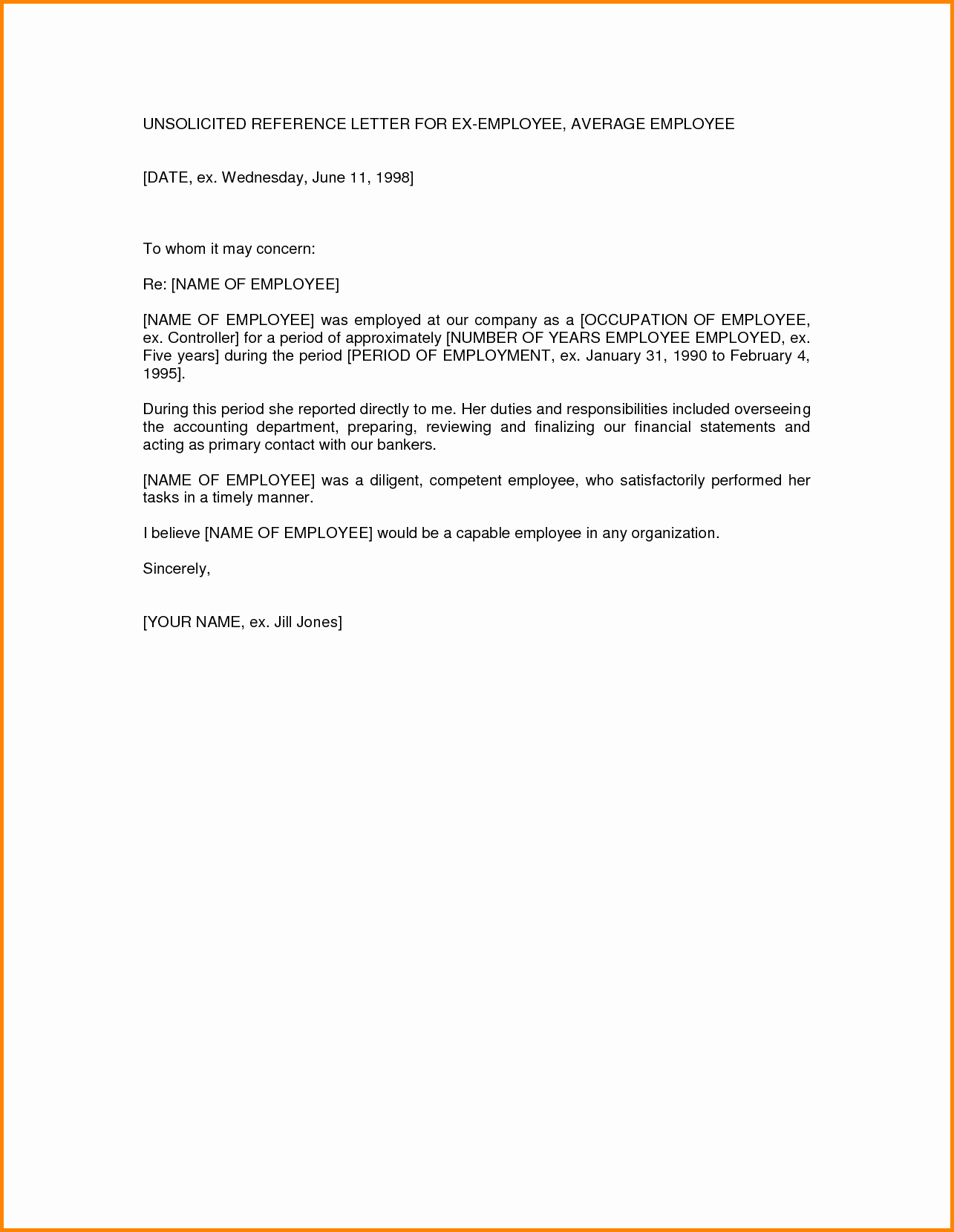 Letters Of Reference for Employees Elegant Reference Letter Template for Employee Bamboodownunder