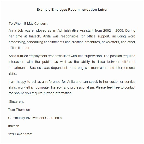Letters Of Reference for Employees Unique 18 Employee Re Mendation Letters Pdf Doc