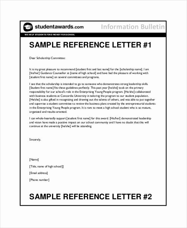Letters Of Reference for Students Beautiful 10 Student Reference Letter Templates Free Samples