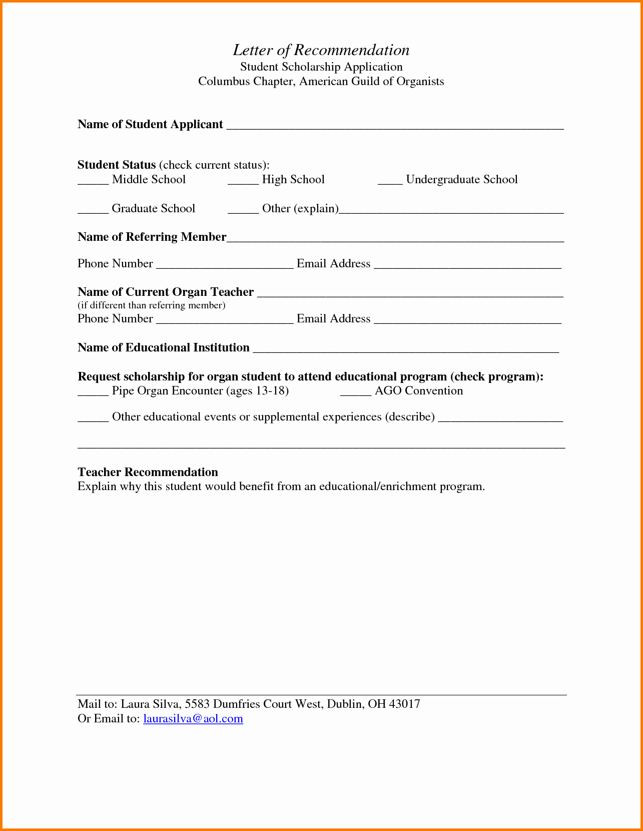 Letters Of Reference for Students Lovely 5 Letter Of Re Mendation for School Scholarship