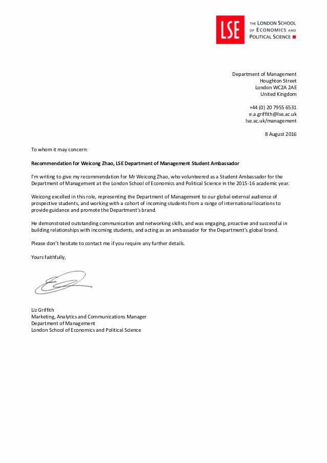 Letters Of Reference for Students New Dom Student Ambassador Re Mendation Letter Weicong Zhao