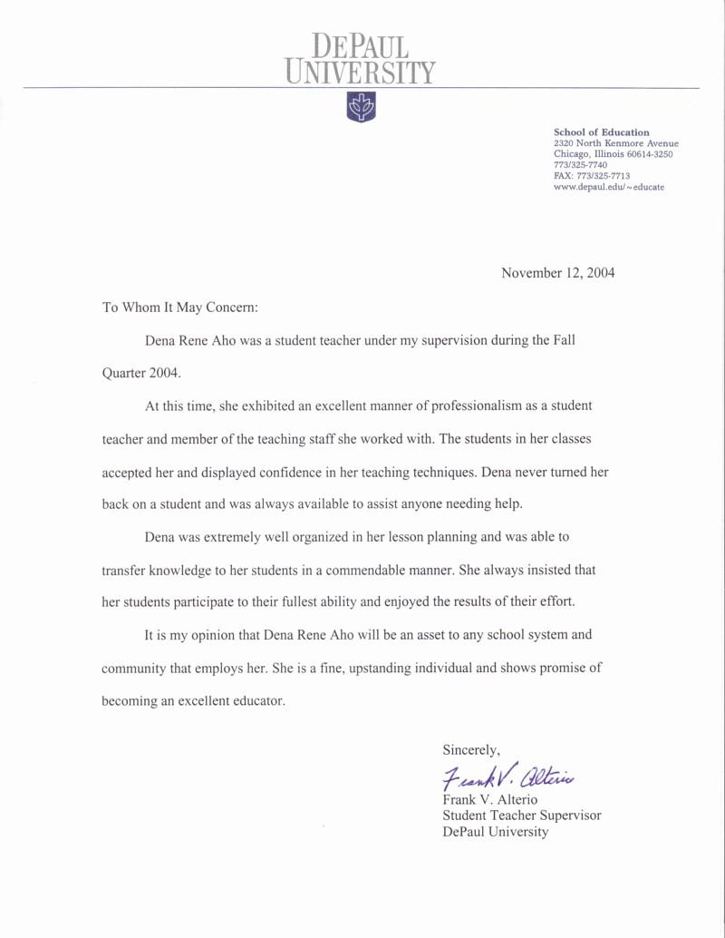 student teacher letter of re mendation