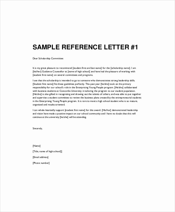 Letters Of Reference for Students Unique High School Re Mendation Letters Letter Of Re Mendation