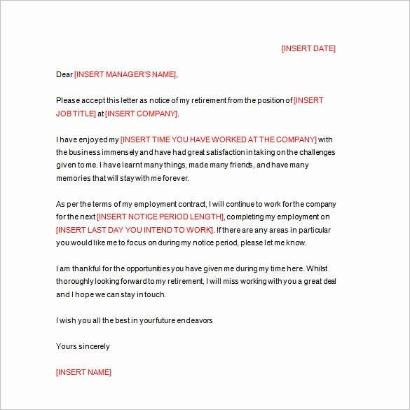 Letters Of Resignation for Retirement Beautiful 25 Letter Templates Pdf Doc Excel