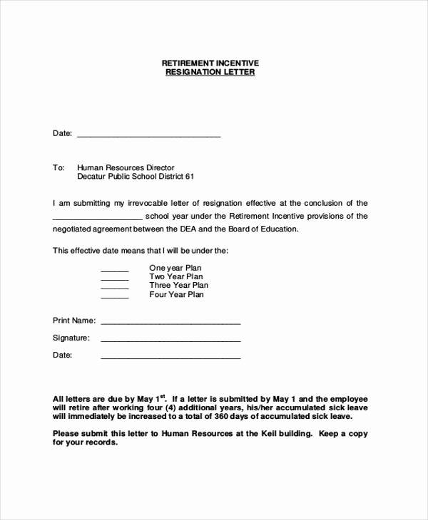Letters Of Resignation for Retirement Best Of 10 Sample Retirement Resignation Letters Free Sample
