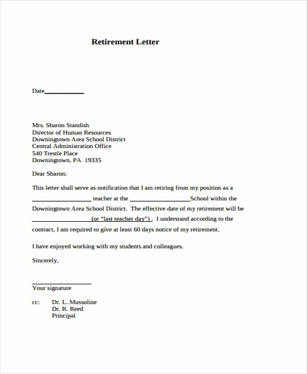 Letters Of Resignation for Retirement Fresh 12 Retirement Resignation Letter Template Free Word
