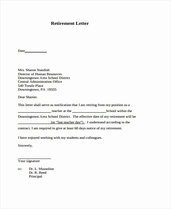 Letters Of Resignation for Retirement Fresh 12 Retirement Resignation Letter Template Free Word
