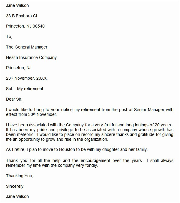 Letters Of Resignation for Retirement Fresh 20 Sample Useful Retirement Letters to Download