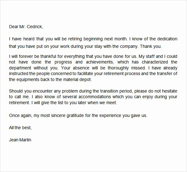 Letters Of Resignation for Retirement Lovely 20 Sample Useful Retirement Letters to Download