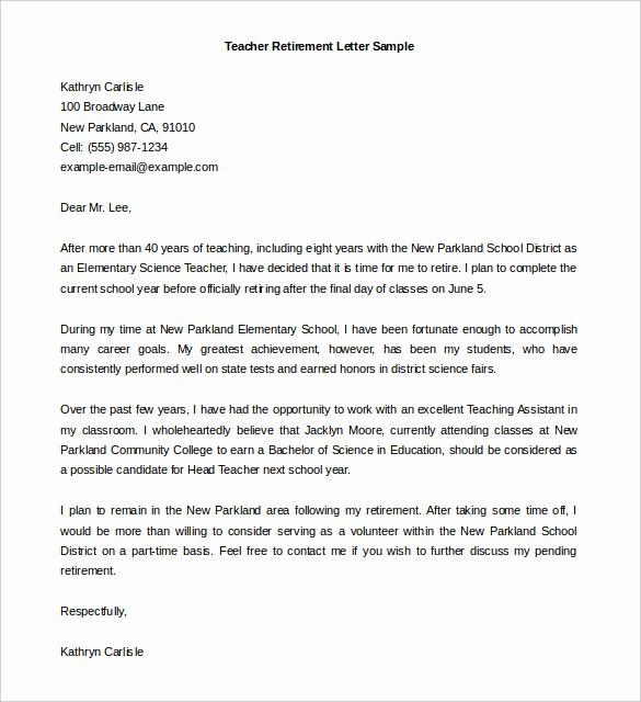 Letters Of Resignation for Retirement Lovely Sample Retirement Letter