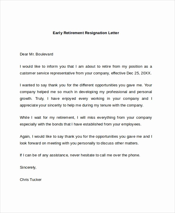Letters Of Resignation for Retirement New 7 Sample Retirement Resignation Letters