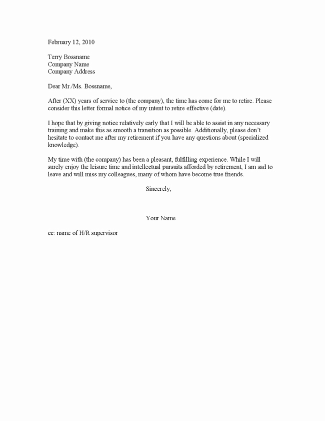Letters Of Resignation for Retirement New Retirement Resignation Letters