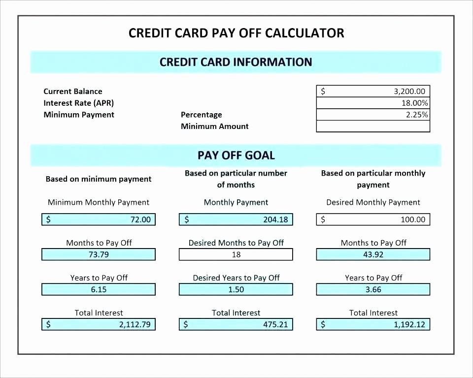 Line Of Credit Calculator Excel Unique Credit Card Payment Calculator