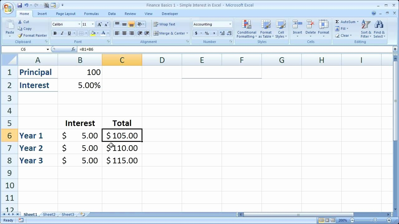 Line Of Credit Calculator Excel Unique Finance Basics 1 Simple Interest In Excel