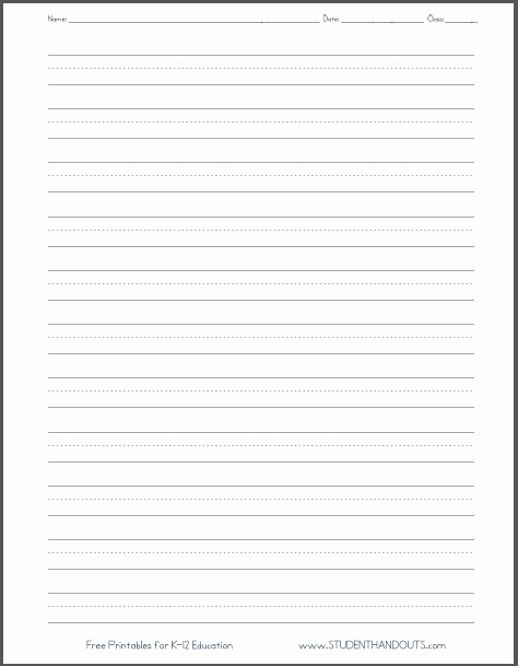 Lined Paper for Handwriting Practice Fresh Free Printable Lined Handwriting Paper