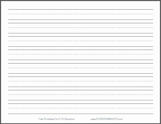 """Lined Sheets for Handwriting Practice Lovely Primary Dashed Writing Paper with 1"""" Lines"""