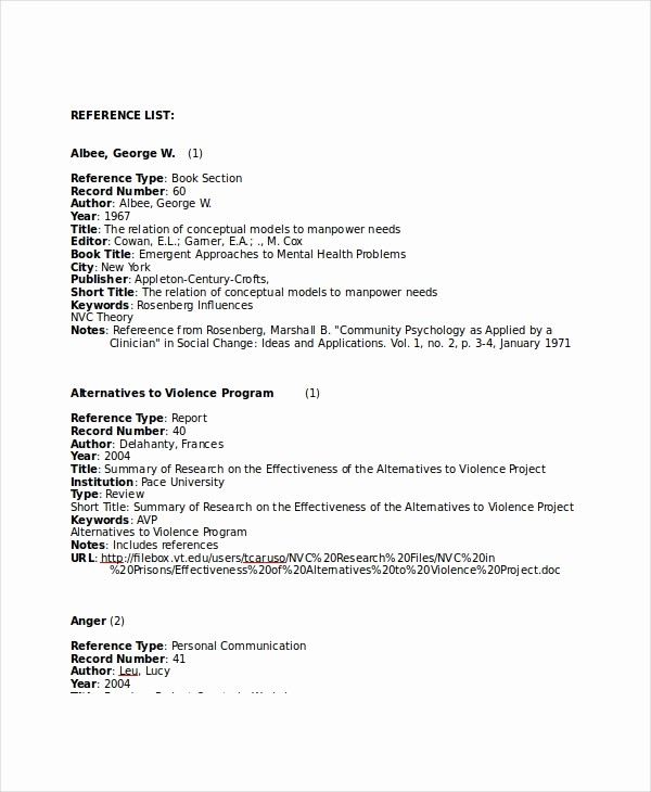 List Of Personal References Template Awesome Reference List 8 Free Pdf Word Documents Download