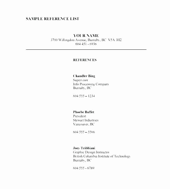 List Of Personal References Template Awesome Resume Character Reference Example with How to Write A In