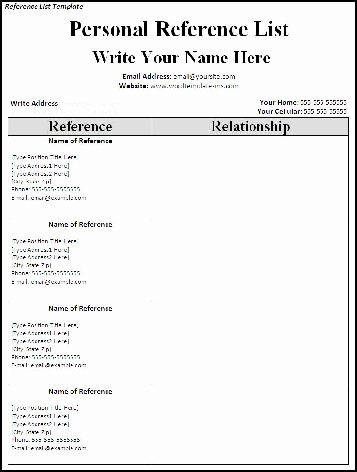 List Of Personal References Template Best Of List References Template