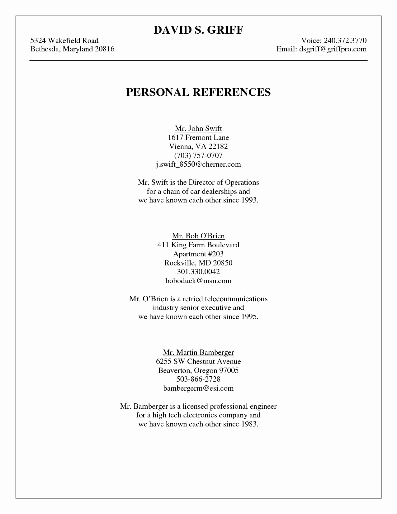 List Of Personal References Template Best Of Personal Reference List Template Portablegasgrillweber