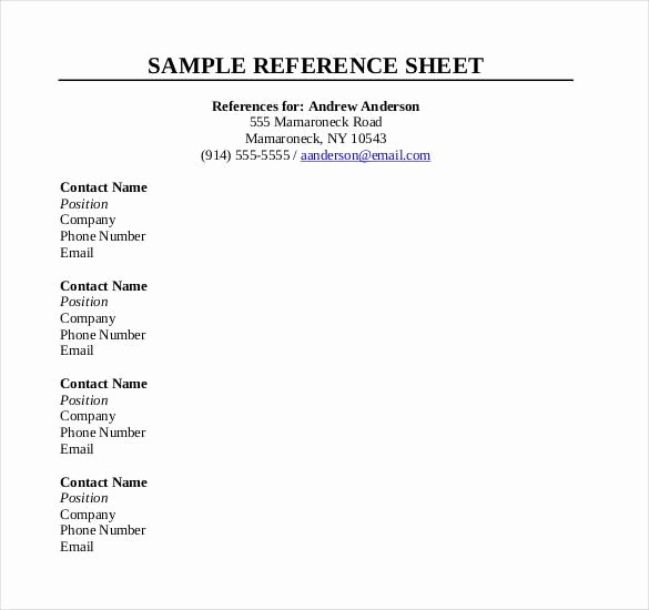 List Of Personal References Template Elegant 10 Reference Sheet Templates