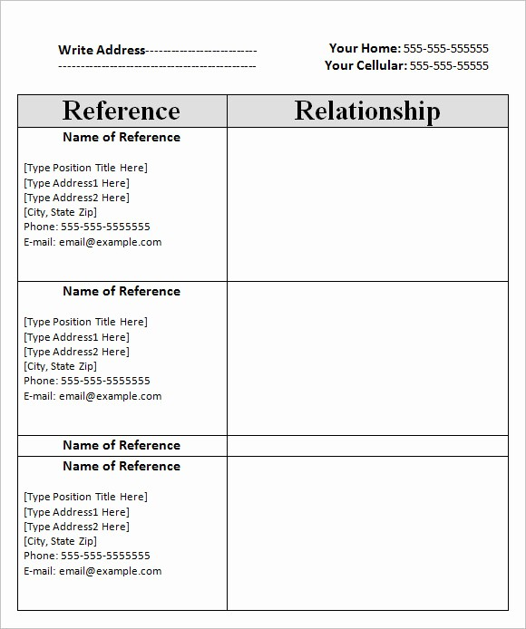List Of Personal References Template Inspirational Blank Reference Sheet Related Keywords Blank Reference