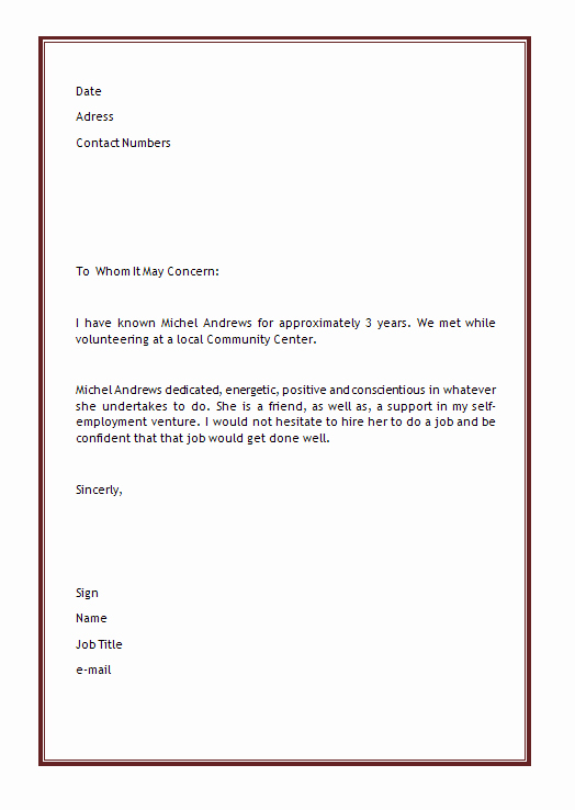 List Of Personal References Template Inspirational Personal Reference Letter Template 40 Awesome Personal