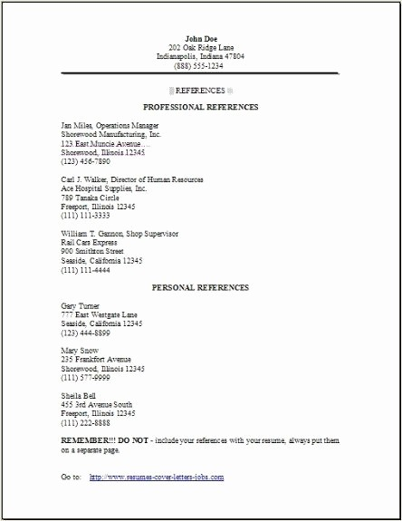 List Of Personal References Template Lovely Reference Page format Job References Letter format