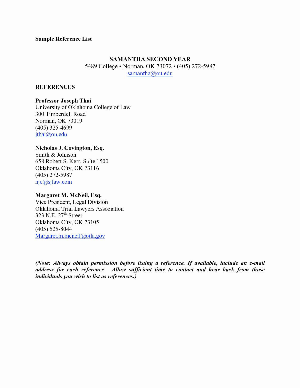 List Of Professional References Sample Elegant List References Template
