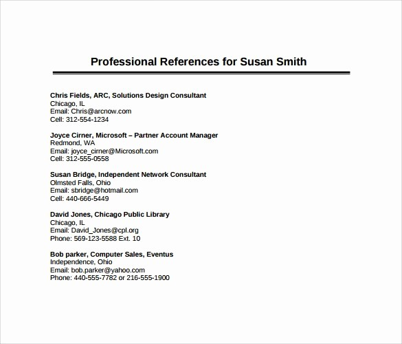List Of Professional References Sample Unique 11 Sample Professional Reference Templates – Sample