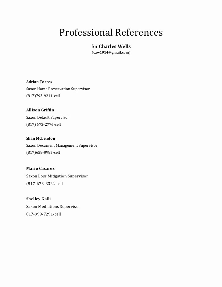 List Of Professional References Sample Unique Professional References