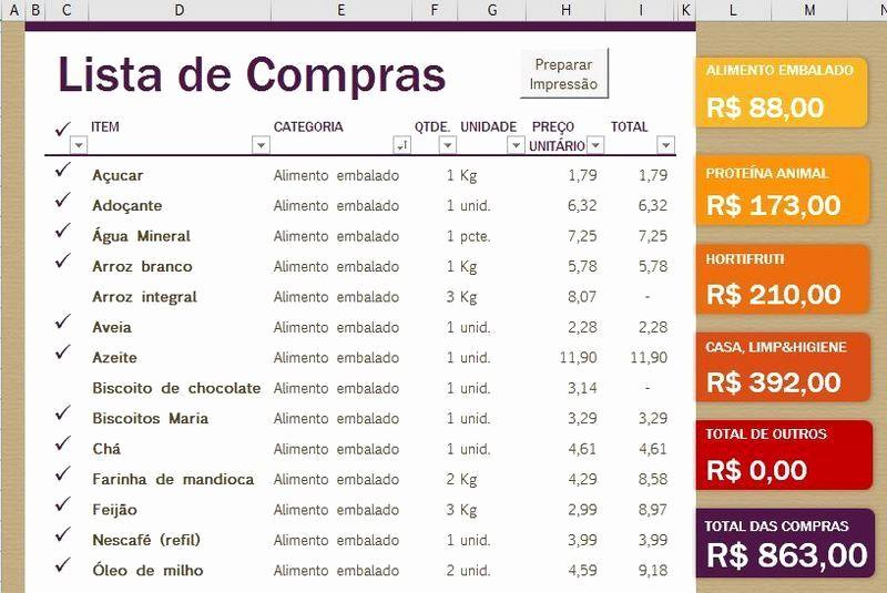 Lista De Compras Supermercado Excel Awesome Lista De Pra P Tablet Pronta Microsoft Fice