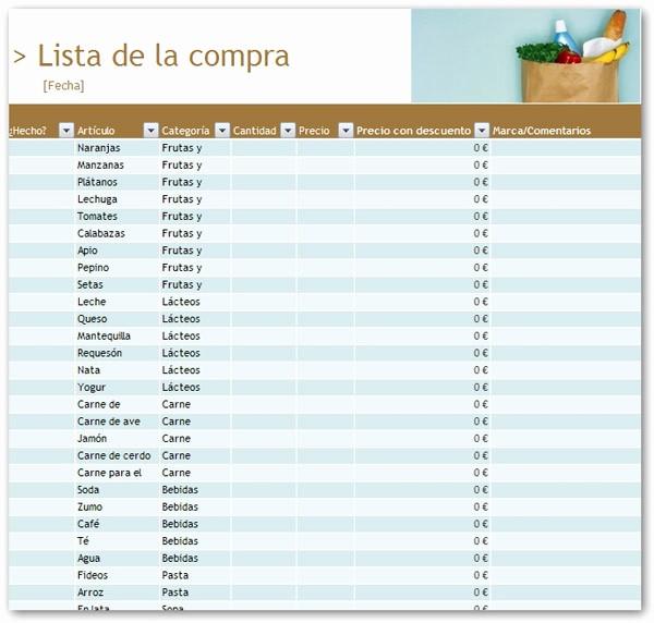 Lista De Compras Supermercado Excel Awesome Plantillas De Excel – La Lista De La Pra Tuexperto