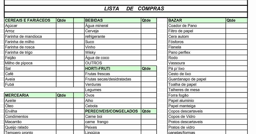 Lista De Compras Supermercado Excel Best Of Lista De Pras Feito Pra Você