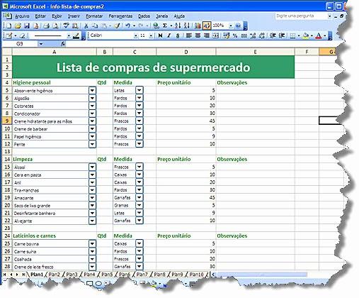 Lista De Compras Supermercado Excel Inspirational Cleberjunior 5 Planilhas úteis Para O Dia A Dia